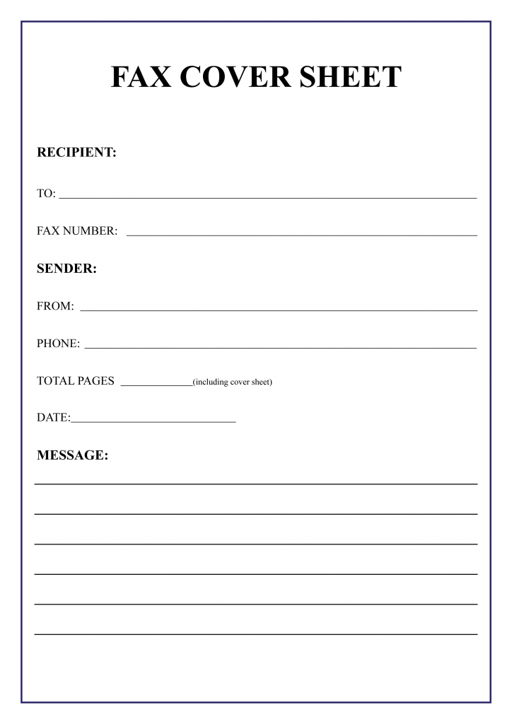 Fax Cover Sheet Template Sample