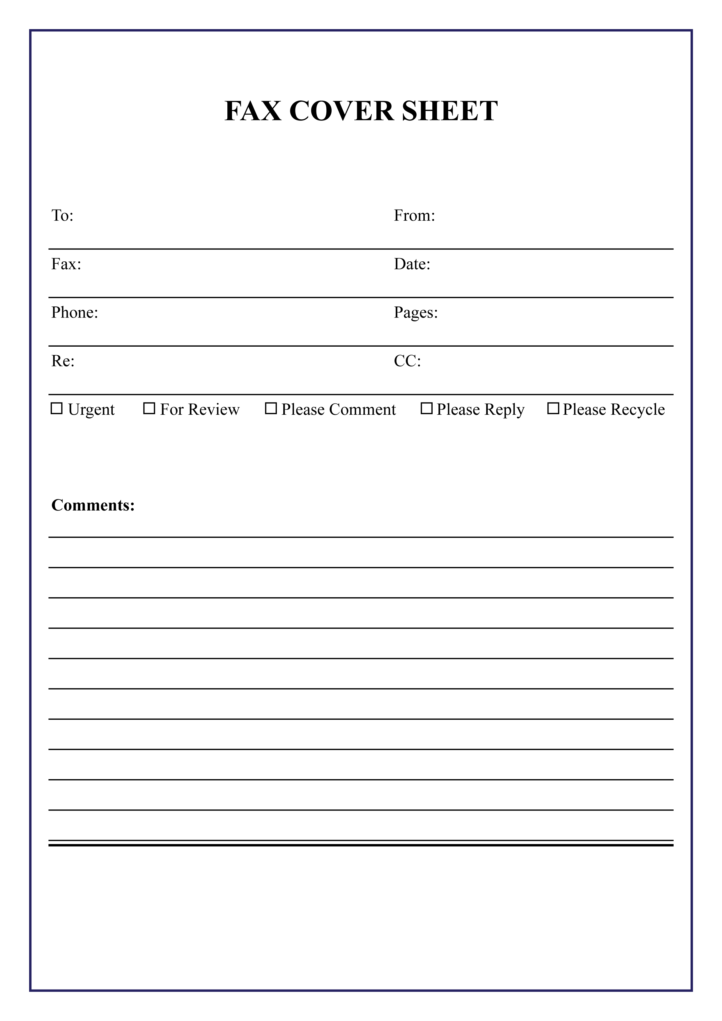 Fax Cover Sheet Excel