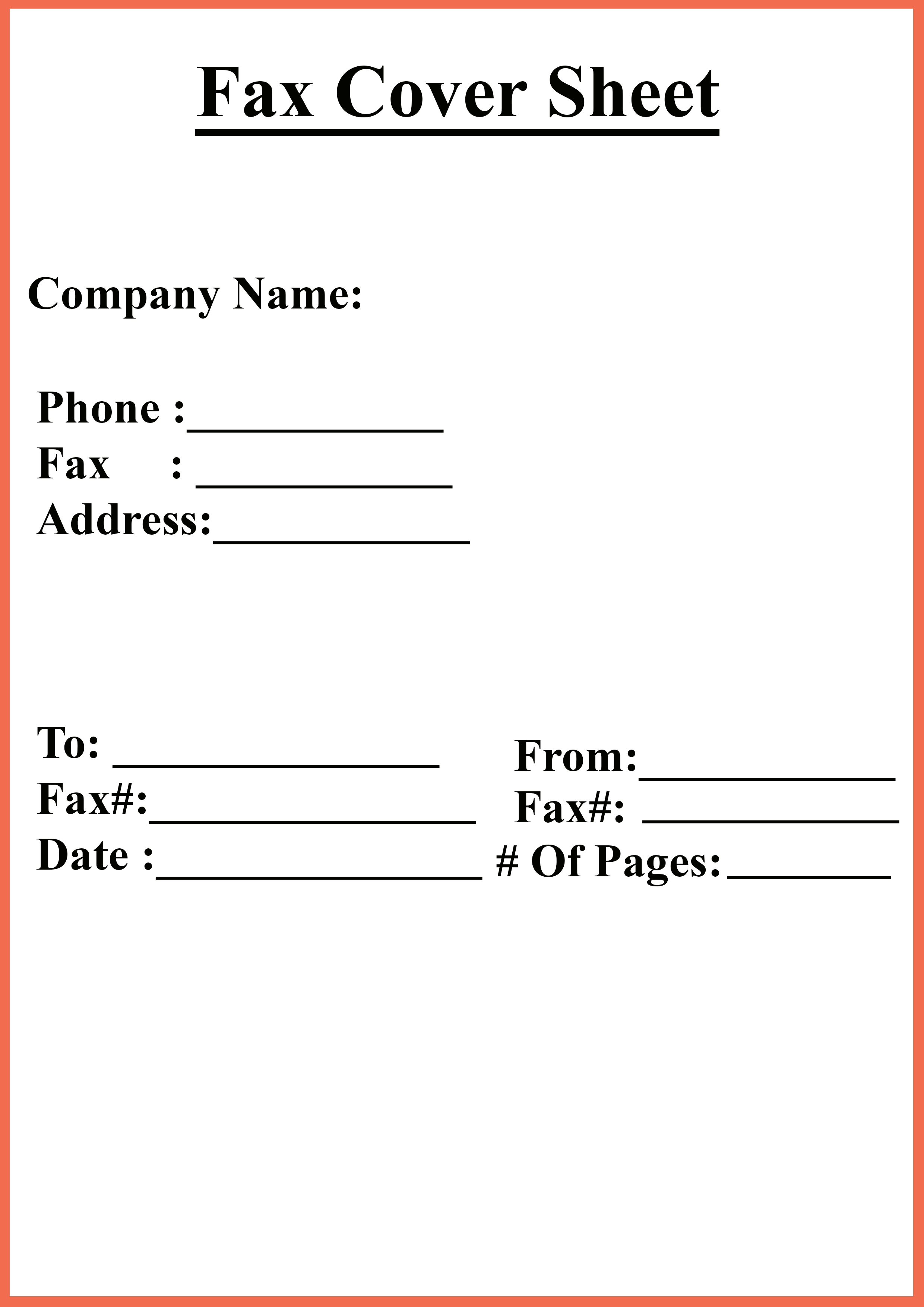 Free Personal Fax Cover Sheet