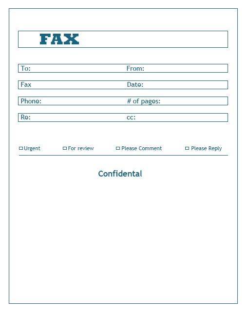 Confidential Fax Cover sheet Printable