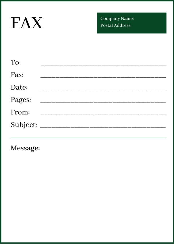 Free Professional Fax Cover Page PDF
