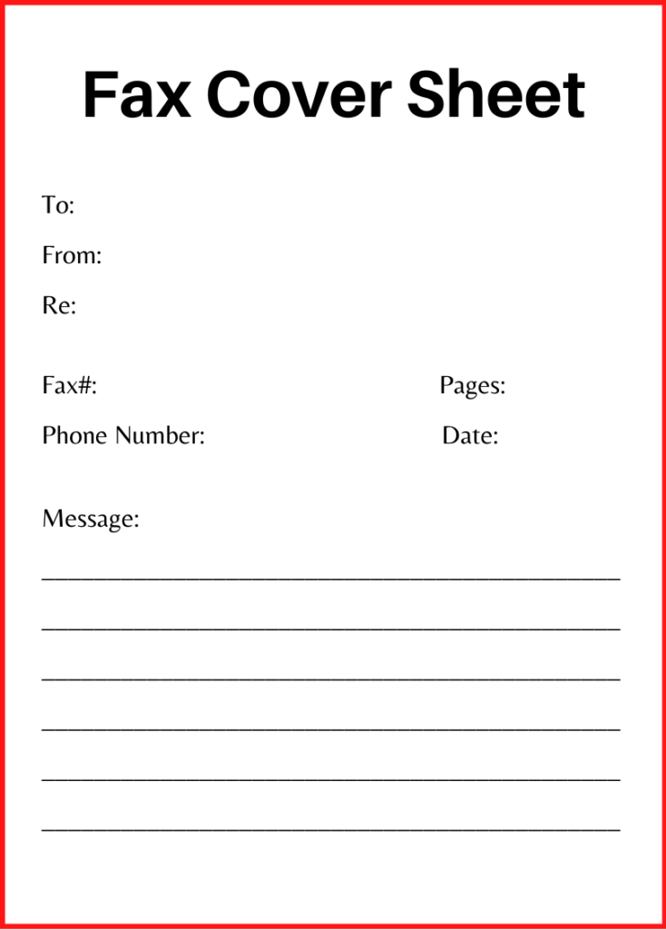 generic fax cover sheet pdf