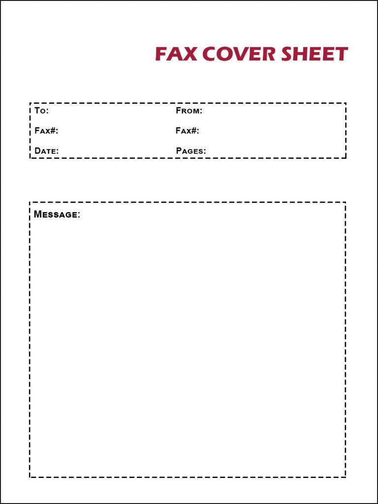 Printable Blank Fax Cover Letter